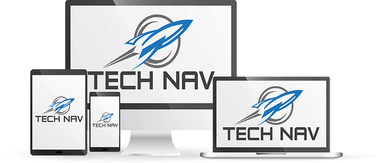 Computer, laptop, tablet and smartphone with Tech Nav logo