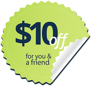 $10 off for you and a friend badge