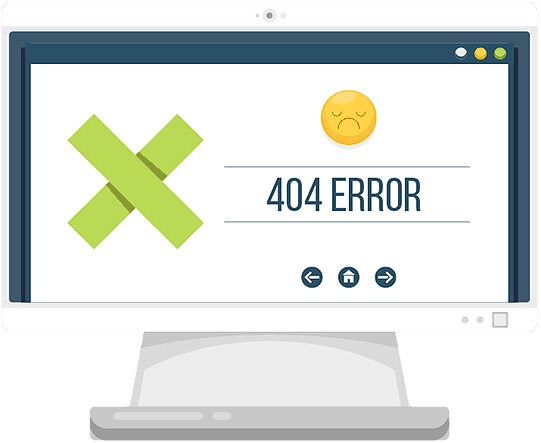 computer with 404 error popup illustration