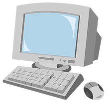 old box computer monitor with keyboard and mouse