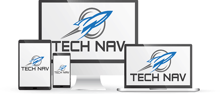 Big monitor, laptop, tablet, and smartphone with Tech Nav logo