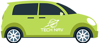 illustration of green car with Tech Nav logo