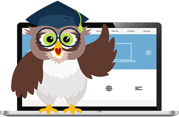 education owl with laptop illustration
