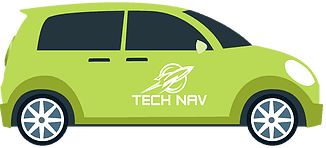 green car with Tech Nav logo illustration