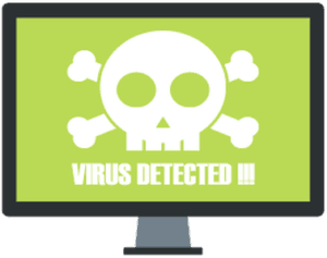 """computer monitor with skull and crossbones with message """"VIRUS DETECTED!!!"""""""