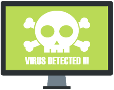 "computer monitor with skull and crossbones with message ""VIRUS DETECTED!!!"""