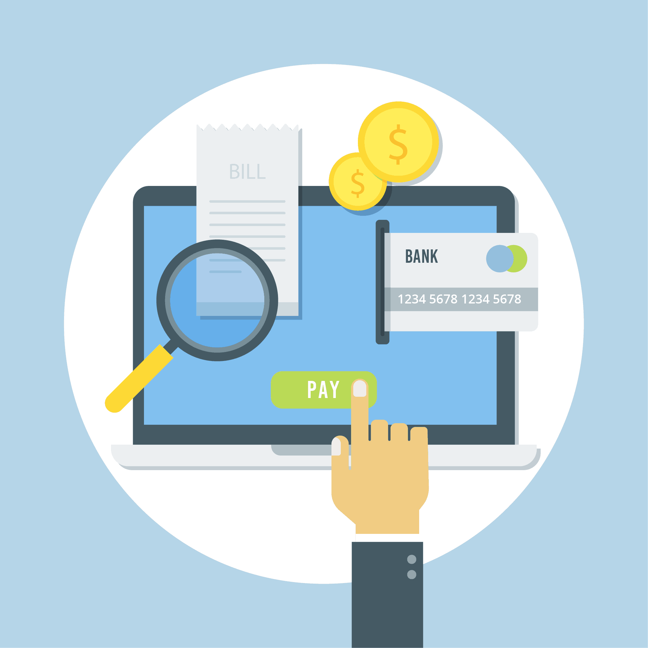 Illustration with hand pressing pay on online banking laptop page